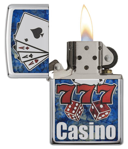 "29633 ""777,"" Cards, Dice, ""Casino"" Blue and Red Fusion Lighter - Open-Lit"