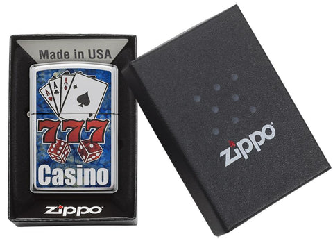 "29633 ""777,"" Cards, Dice, ""Casino"" Blue and Red Fusion Lighter - Packaging"