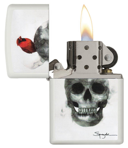 29644, Steven Spazuk Art with Red Cardinal Bird Resting on Smoking Skull Head, Color Image, White Matte Finish