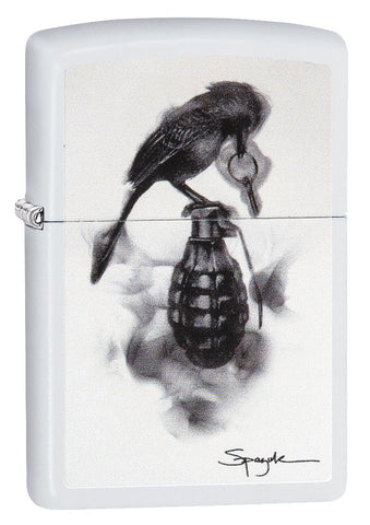 29645, Steven Spazuk Art with Black Bird Rest on Hand Grenade, Color Image, White Matte Finish