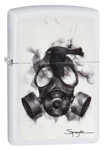 29646, Steven Spazuk Art with Black Bird Resting on a Smoking Gas Mask, Color Image, White Matte Finish