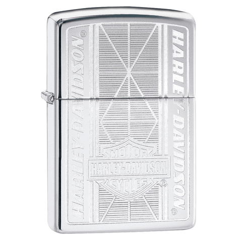 29655 - Harley-Davidson® Chrome Geometric Engraved Lighter, 3/4 View