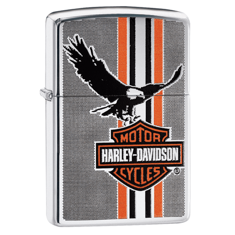 29656 - Harley-Davidson® Carbon Fiber Eagle & Stripes Lighter, 3/4 View