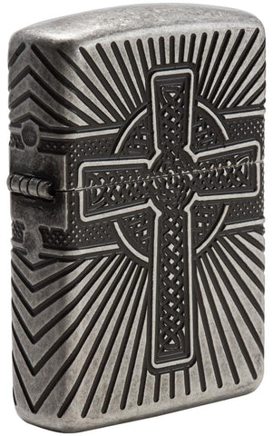 Armor® Celtic Cross Design Windproof Lighter standing at a 3/4 angle
