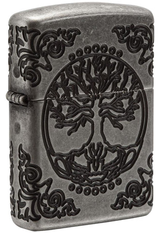 Armor® Tree of Life Windproof Lighter standing at a 3/4 angle