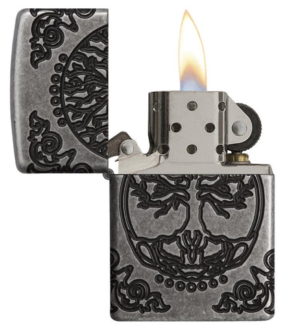 Armor® Tree of Life Windproof Lighter with its lid open and lit