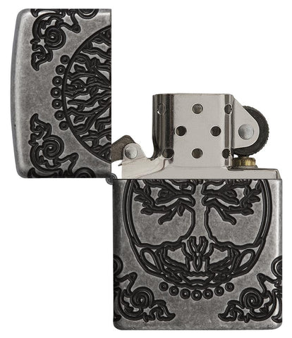 Armor® Tree of Life Windproof Lighter with lit open and unlit