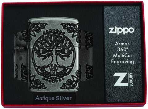 Armor® Tree of Life Windproof Lighter in its packaging