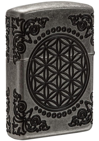 Back view of Armor® Tree of Life Windproof Lighter standing at a 3/4 angle