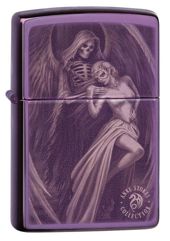 Anne Stokes High Polish Purple Windproof Lighter standing at a 3/4 angle