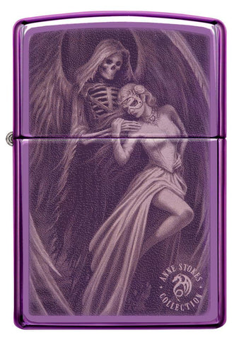 Front view of Anne Stokes High Polish Purple Windproof Lighter
