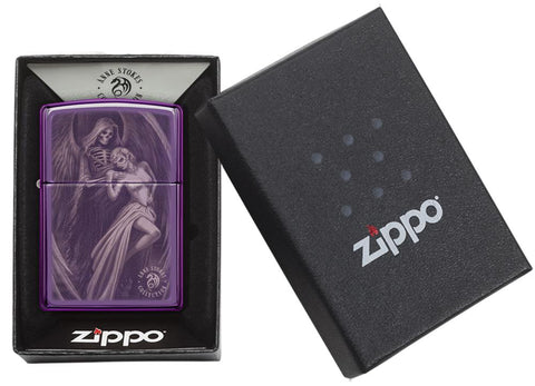 Anne Stokes High Polish Purple Windproof Lighter in its packaging