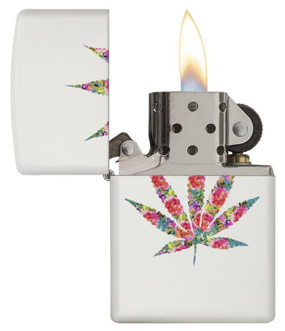 29730 - Floral Weed Design Lighter - Open Lit