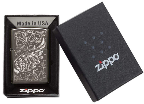 29881 Filligree Flame and Wing Design Zippo Windproof Lighter