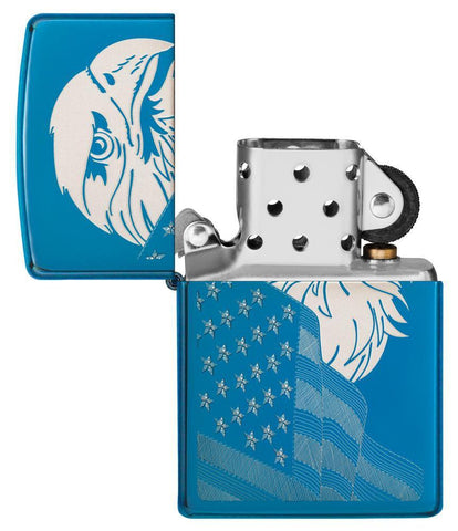 29882 High Polish Blue Eagle and Flag Windproof Zippo Lighter