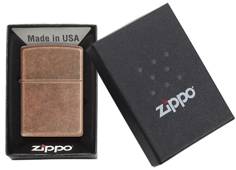 301FB- Antique Copper Winproof Zippo Lighter, Classic Case