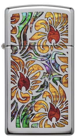 1610, Fusion Floral Design, High Polish Chrome, Slim Case