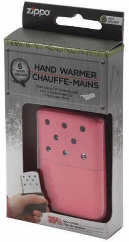 6-Hour Pink Refillable Hand Warmer in its packaging