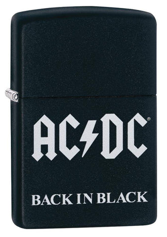 AC/DC® Back In Black windproof lighter standing at a 3/4 angle