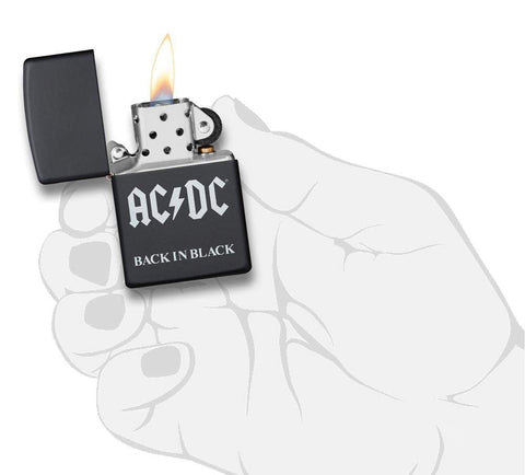 AC/DC® Back In Black windproof lighter with its lid open and lit