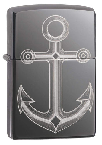 Black Ice® Anchor Windproof Lighter standing at a 3/4 angle