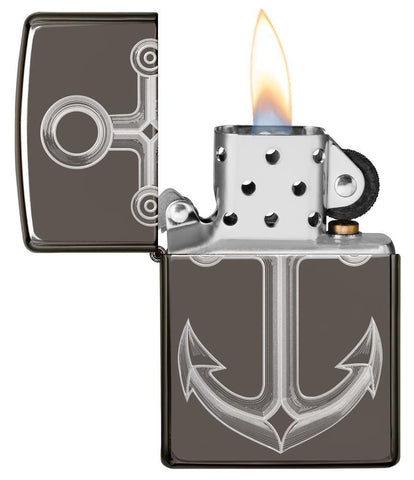 Black Ice® Anchor Windproof Lighter with its lid open and lit