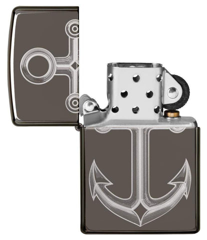 Black Ice® Anchor Windproof Lighter with its lid open and unlit