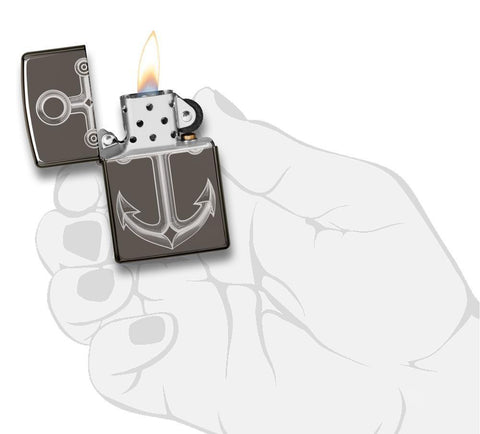 Black Ice® Anchor Windproof Lighter lit in hand