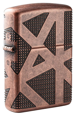 Armor® Geometric 360 Design Windproof Lighter standing at a 3/4 angle