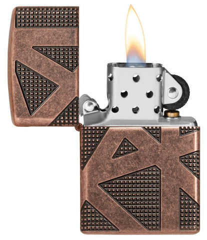 Armor® Geometric 360 Design Windproof Lighter with its lid open and lit