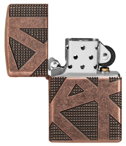 Armor® Geometric 360 Design Windproof Lighter with its lid open and unlit