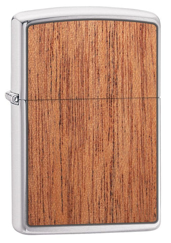 WOODCHUCK USA Mahogany Brushed Chrome windproof lighter facing forward at a 3/4 angle