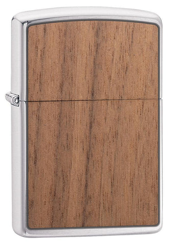 WOODCHUCK-USA-Walnut Brushed Chrome windproof lighter facing forward at a 3/4 angle