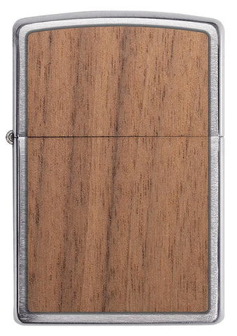WOODCHUCK-USA-Walnut Brushed Chrome windproof lighter facing forward