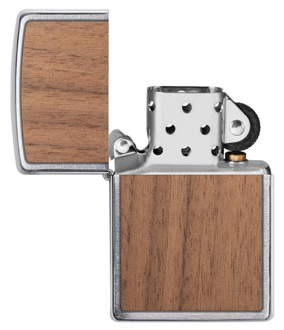WOODCHUCK-USA-Walnut Brushed Chrome windproof lighter with its lid open and not lit