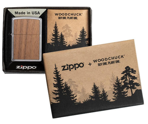 WOODCHUCK-USA-Walnut Brushed Chrome windproof lighter in packaging