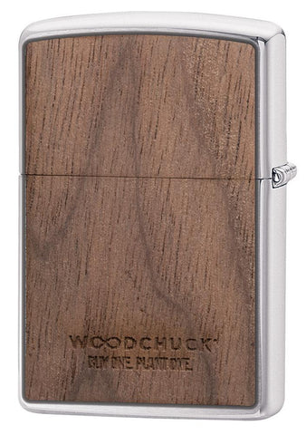 WOODCHUCK-USA-Walnut Brushed Chrome windproof lighter showing the back, standing at a 3/4 angle