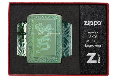 Armor® High Polish Green Elegant Dragon in its packaging