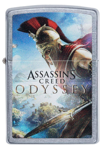 Front of Assassins Creed Odyssey Street Chrome windproof lighter
