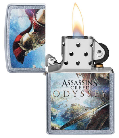 Assassins Creed Odyssey Street Chrome windproof lighter with its lid open and lit