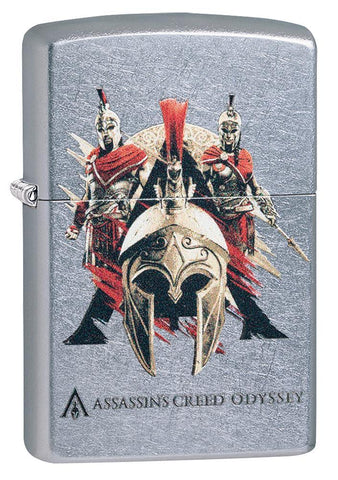Assassins Creed Odyssey Helmet Street Chrome windproof lighter facing forward at a 3/4 angle