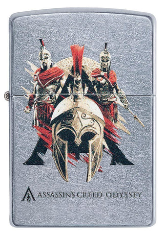 Front of Assassins Creed Odyssey Helmet Street Chrome windproof lighter