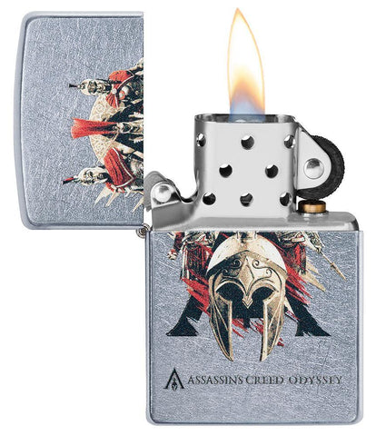 Assassins Creed Odyssey Helmet Street Chrome windproof lighter with its lid open and not lit
