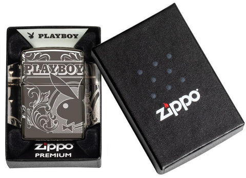 Playboy Laser 360 Design Black Ice windproof lighter in luxury packaging