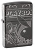 Playboy Laser 360 Design Black Ice windproof lighter facing forward at a 3/4 angle