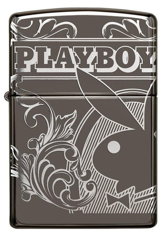 Playboy Laser 360 Design Black Ice windproof lighter facing forward