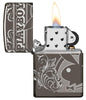 Playboy Laser 360 Design Black Ice windproof lighter with its lid open and lit