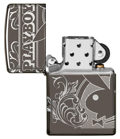 Playboy Laser 360 Design Black Ice windproof lighter with the lid open and not lit