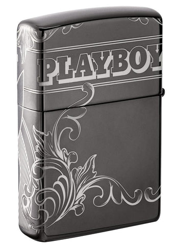 Back of Playboy Laser 360 Design Black Ice windproof lighter at a 3/4 angle