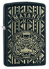 Mayans M.C. Black Matte windproof lighter facing forward at a 3/4 angle
